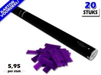 Bestel de goedkoopste 80cm confetti shooters met paarse brandvrije papieren confetti bij Partyvuurwerk. Eenvoudig online bestellen en snel geleverd!