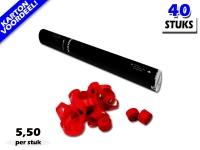 Laagste prijs! Bestel 40cm streamer shooters met rode brandvrije streamers zeer voordelig online bij Partyvuurwerk.
