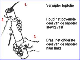 Instructie voor een veilig gebruik van oranje handheld streamer shooters