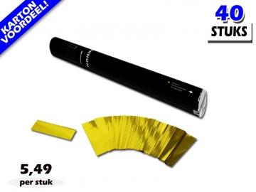 Laagste prijs! Bestel 40cm confetti shooters met goud metallic brandvrije confetti zeer voordelig online bij Partyvuurwerk.