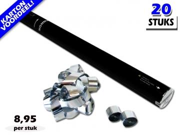 Laagste prijs! Bestel 80cm streamer shooters met metallic zilveren brandvrije streamers zeer voordelig online bij Partyvuurwerk.