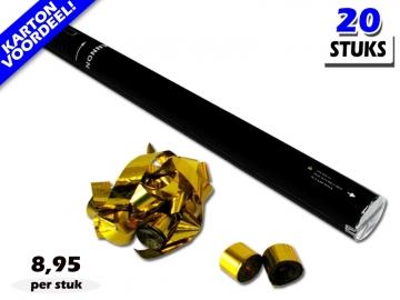 Laagste prijs! Bestel 80cm streamer shooters met goud metallic brandvrije streamers zeer voordelig online bij Partyvuurwerk.